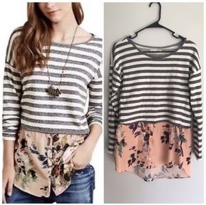Anthropologie Striped & Floral Layered Blouse